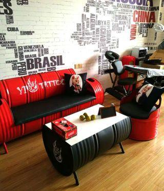 [New] Retro Metallic Drum Coffee Table & Chair (1 set)