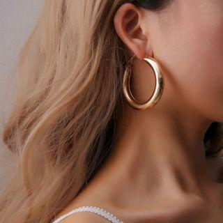 [NEW] Punk Rock Minimalist 50mm Thick Tube Big Gold Alloy Round Circle Hoop Earrings