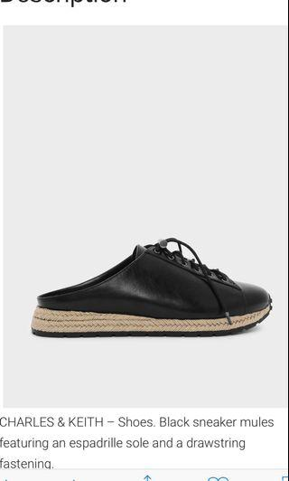 Charles And Keith Black Espadrille Sneaker Mules