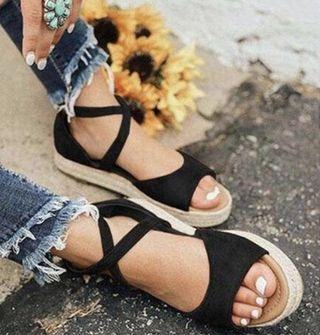 Black lace up sandals with zipper