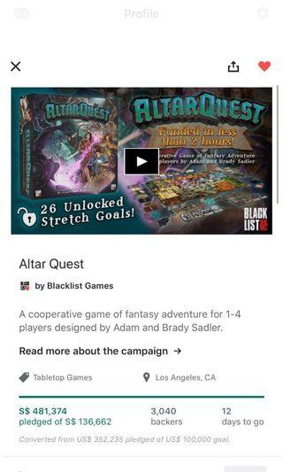 🚚 Altar quest group pledge Kickstarter final call