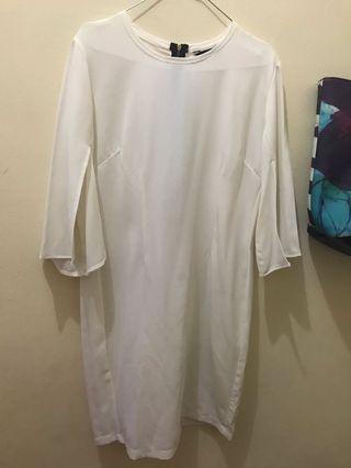 Preloved white dress lengan 7/8
