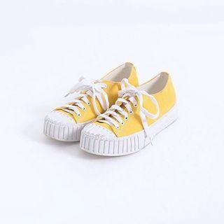 Shoes ::: 超百搭帆布綁帶厚底鞋餅乾鞋💛黃色 Queenshop