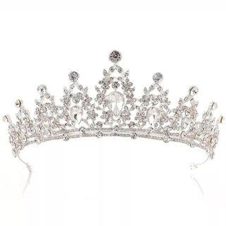 🆕新娘攝影結銀色閃石皇冠 Queen promWedding queen rhinestone crown