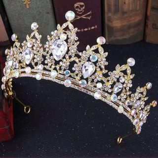 🆕新娘攝影女皇金色閃石皇冠Wedding queen gold rhinestone AB crystal crown