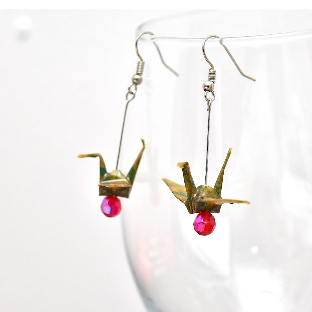 23 Beautiful origami paper crane earrings in Green and Brown, Japanese, handmade