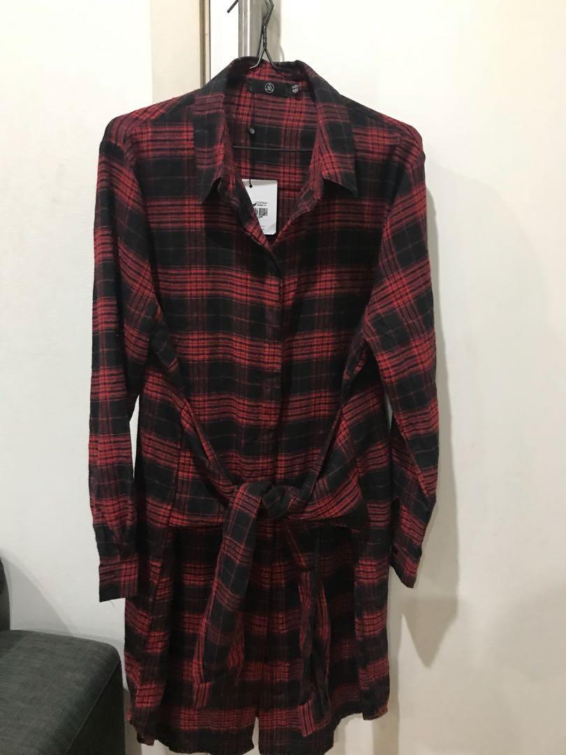 Bnwt misguided women's tie waist check plaid top/dress size 16