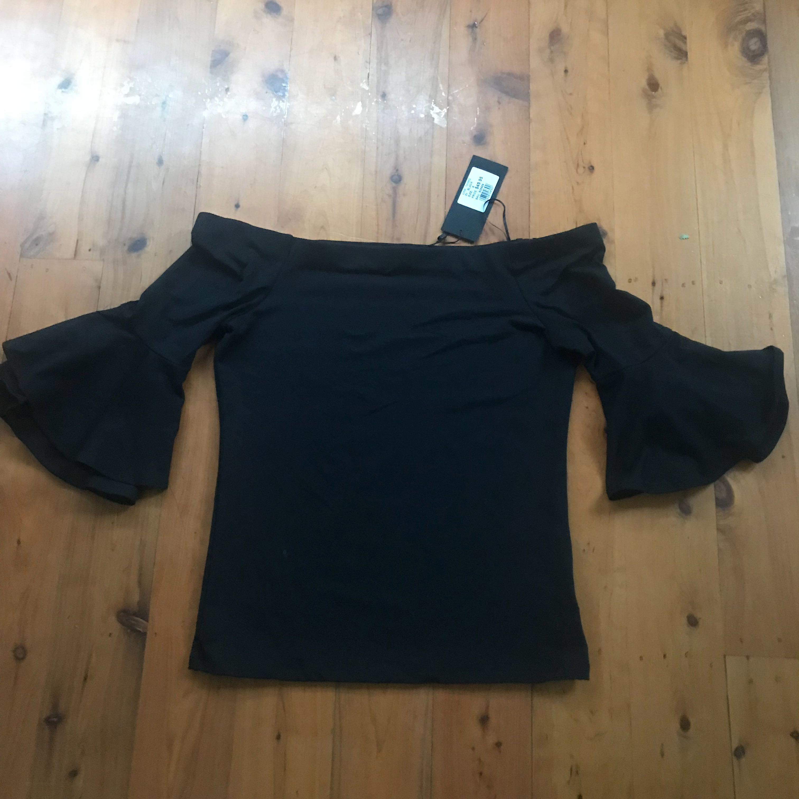 Bnwt women's Pittman's black stretch off the shoulder top flared sleeves size s RRP $49.95