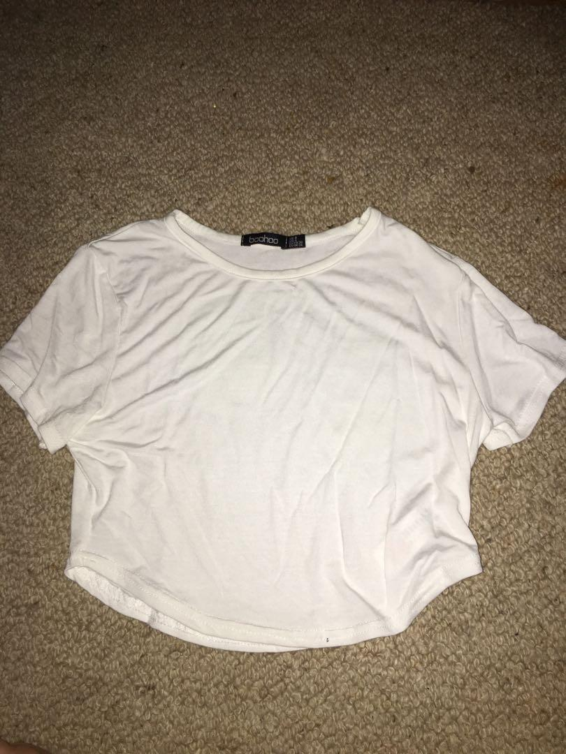 Boohoo white crop top