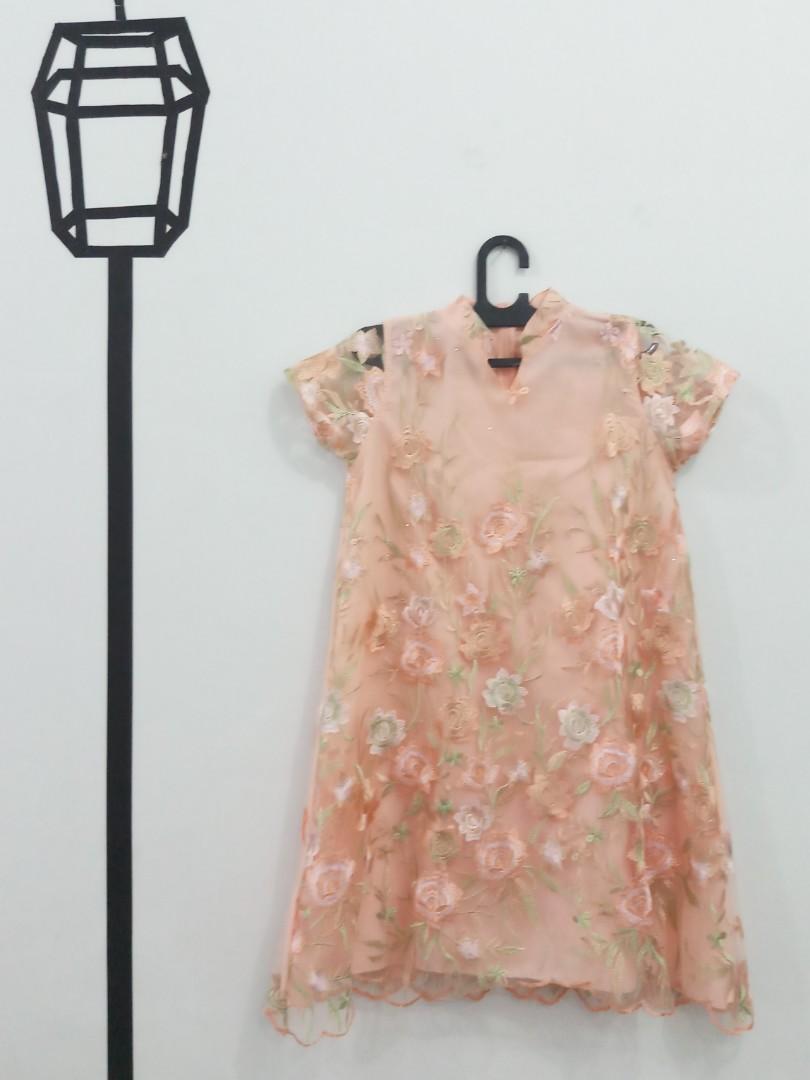 Dress Tule Glitter Pink Furing