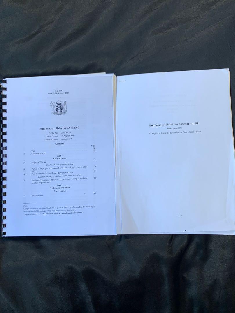 Employment Relations Act & Bill
