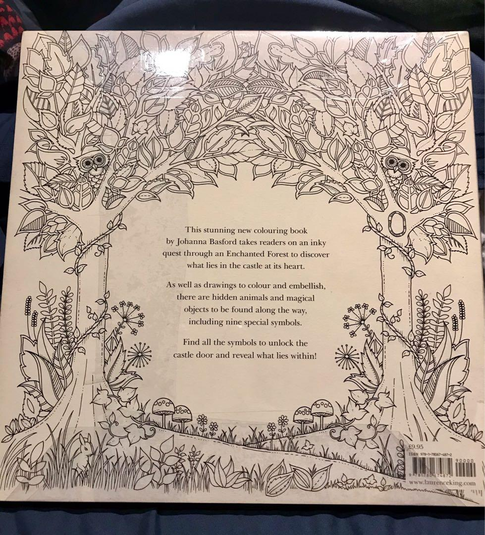 Enchanted Forest - An Inky Quest Coloring Book by Johanna Basford, authentic and brand new, perfect condition, still in the original shrinkwrap