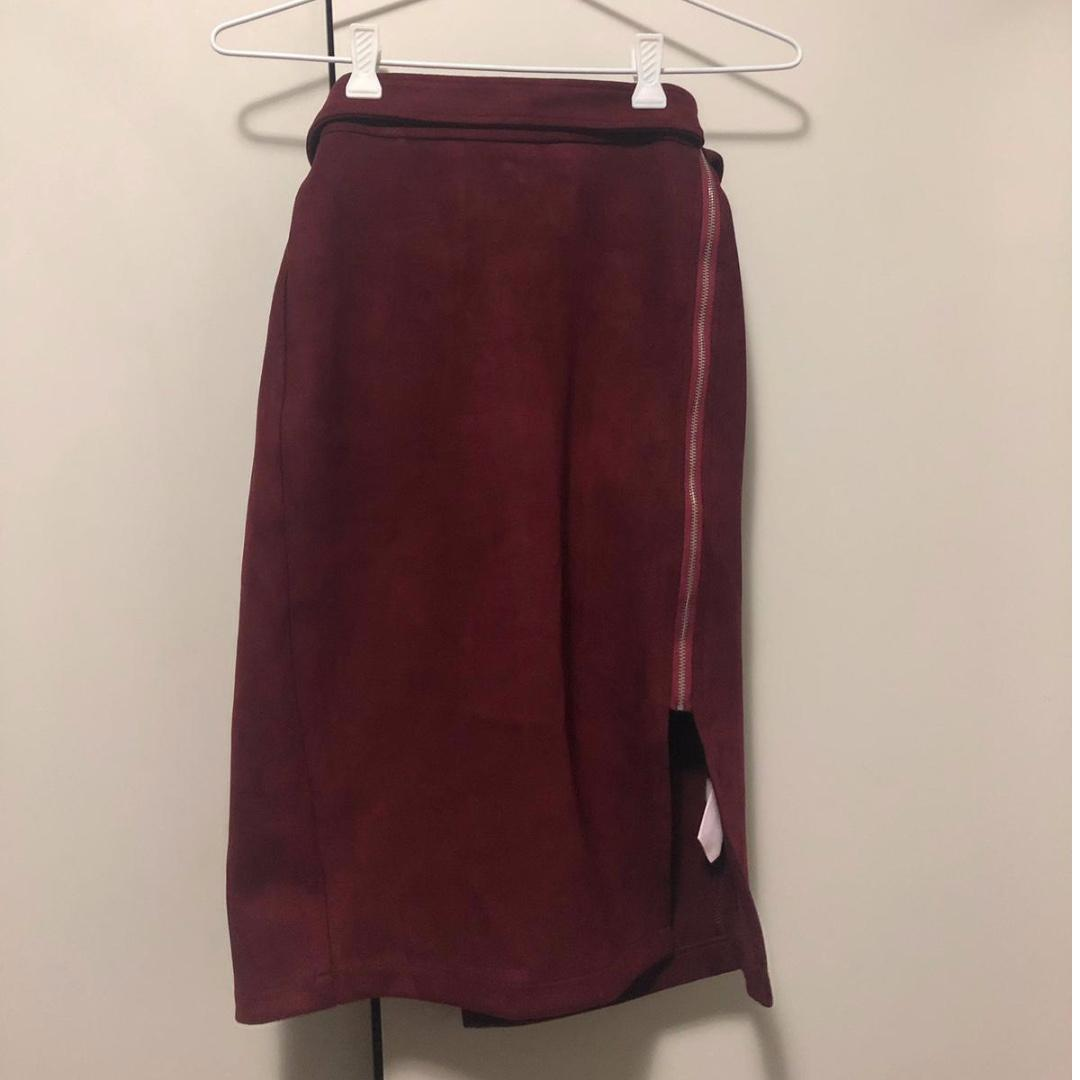 Faux Suede Wine Red Midi Pencil Skirt with Belt and Side-zip Detail