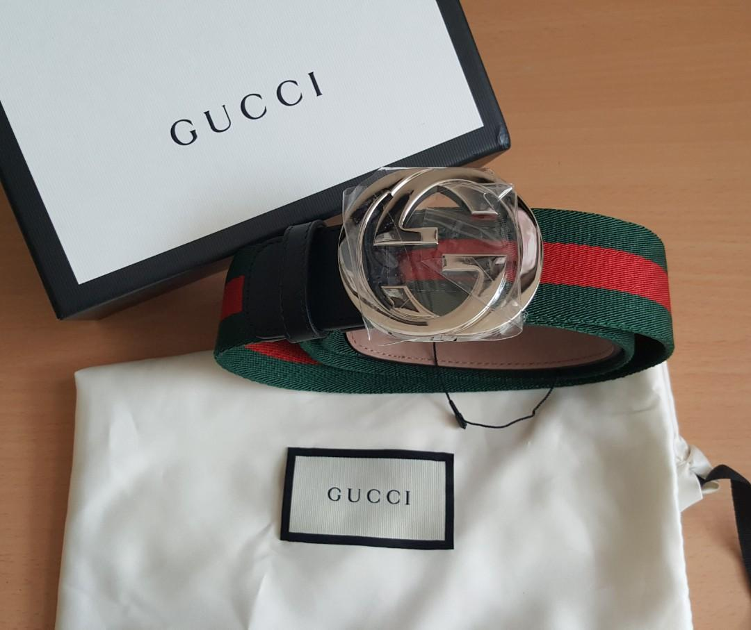 Gucci web belt with G buckle