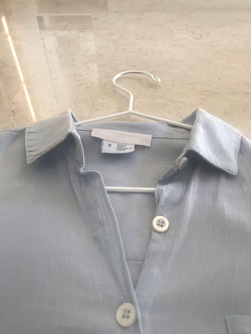 Kemeja Biru Polos Urban Outfitters Cooperative Brand