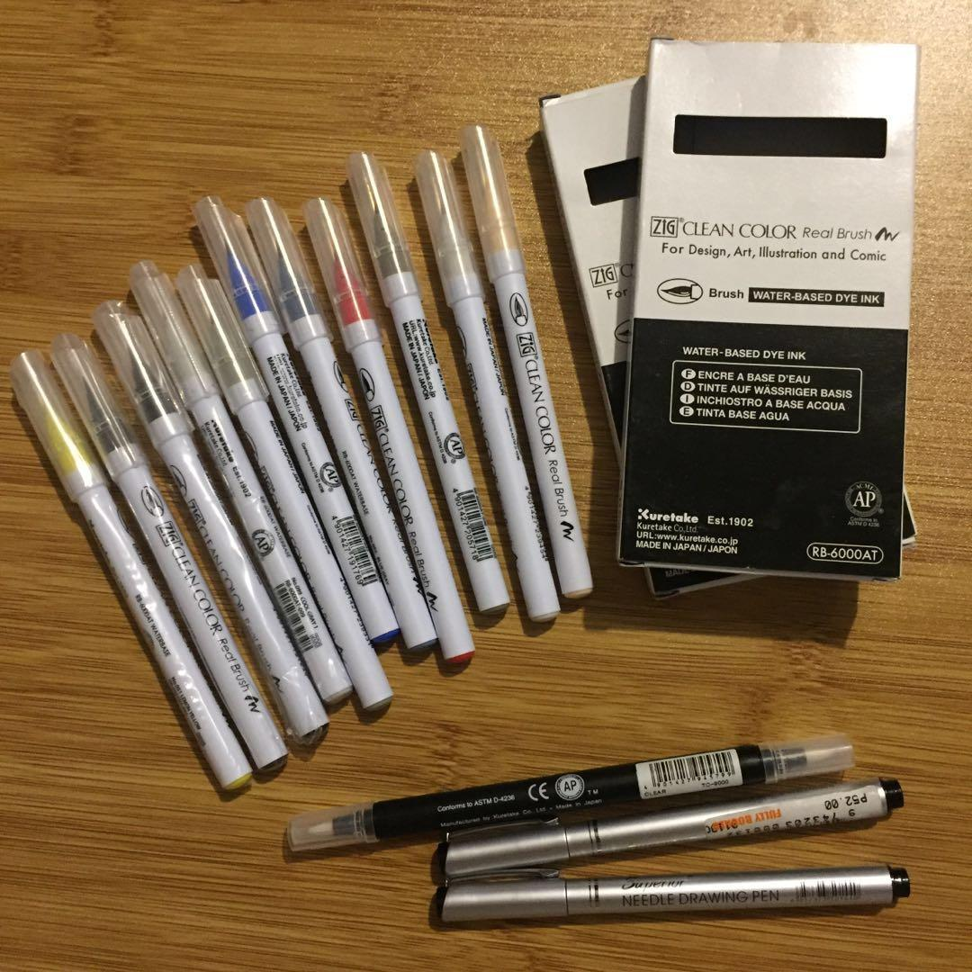 Kuretake Zig Clean Color Real Brush Pen + Zig Twin Tip Blender + FREE FREEBIES 2 Superior Needle Drawing Pens