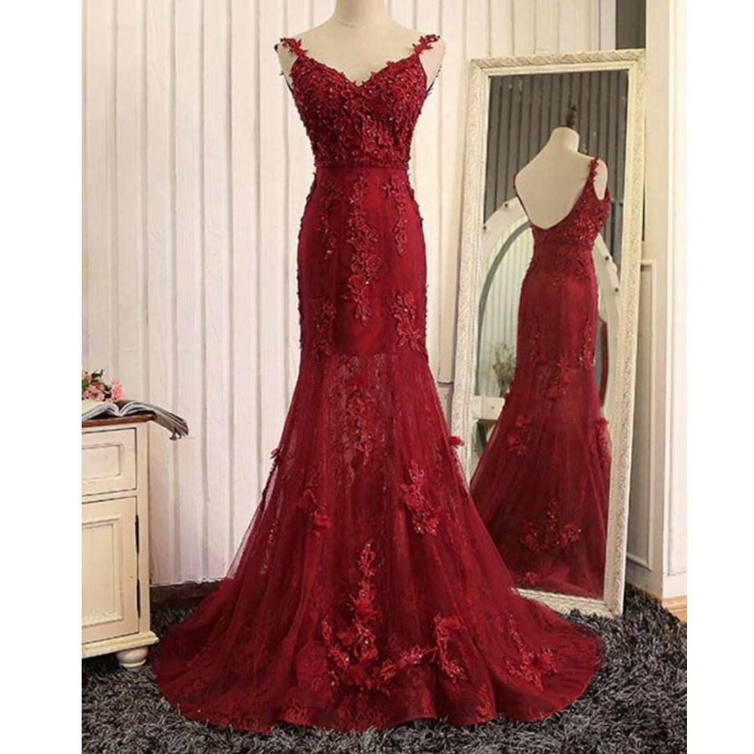 red mermaid wedding gown, women's fashion, clothes, dresses