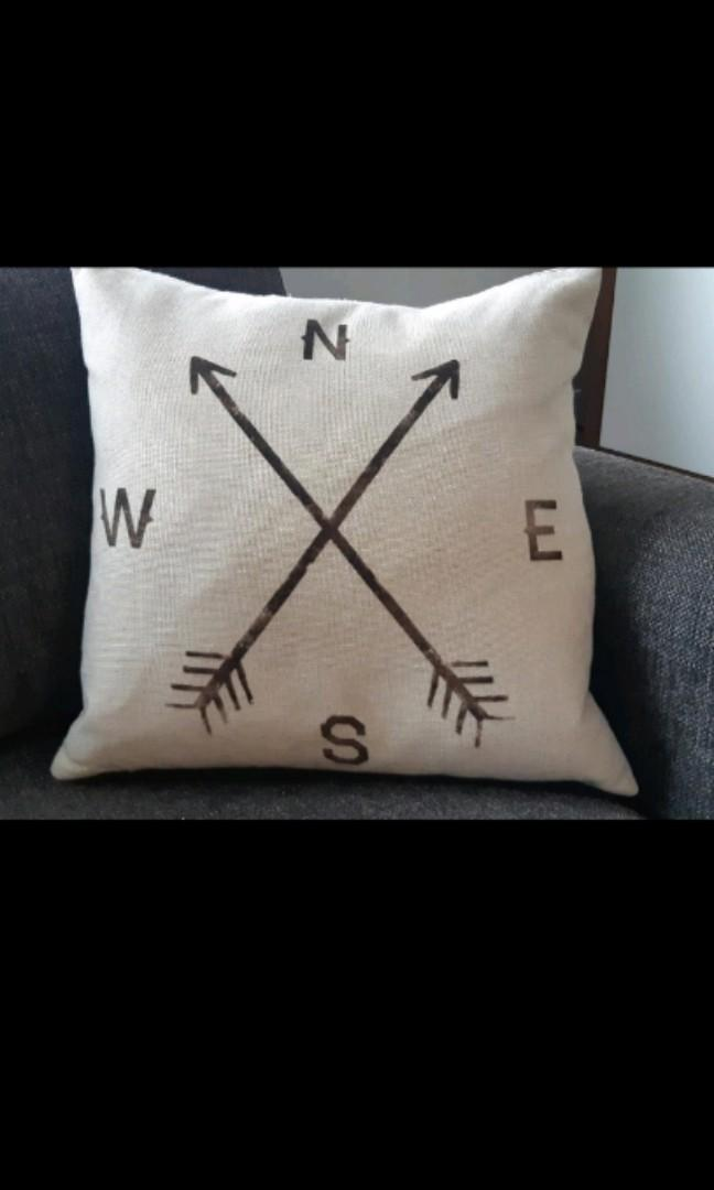 N,E,S,W compass and arrows decorative accent pillow