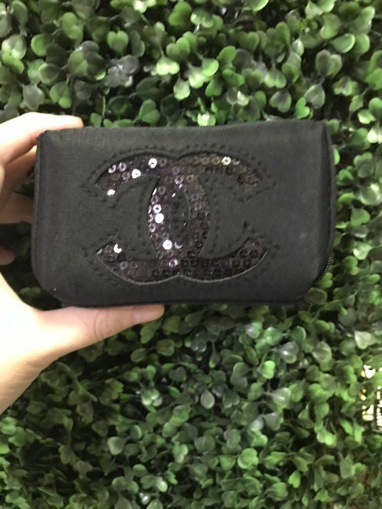 New Chanel Beaute Gift w purchase black sequin logo pouch case small bag