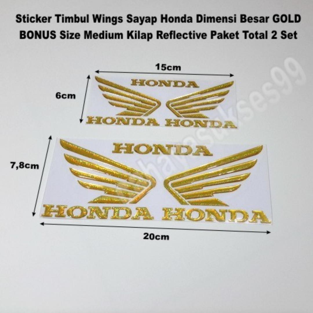Sticker Timbul Sayap Honda Wings Size Besar Warna GOLD BONUS Size Medium Stiker Body Motor VARIO Striping Plastik Resin Reflective PAKET HEMAT 2 Set