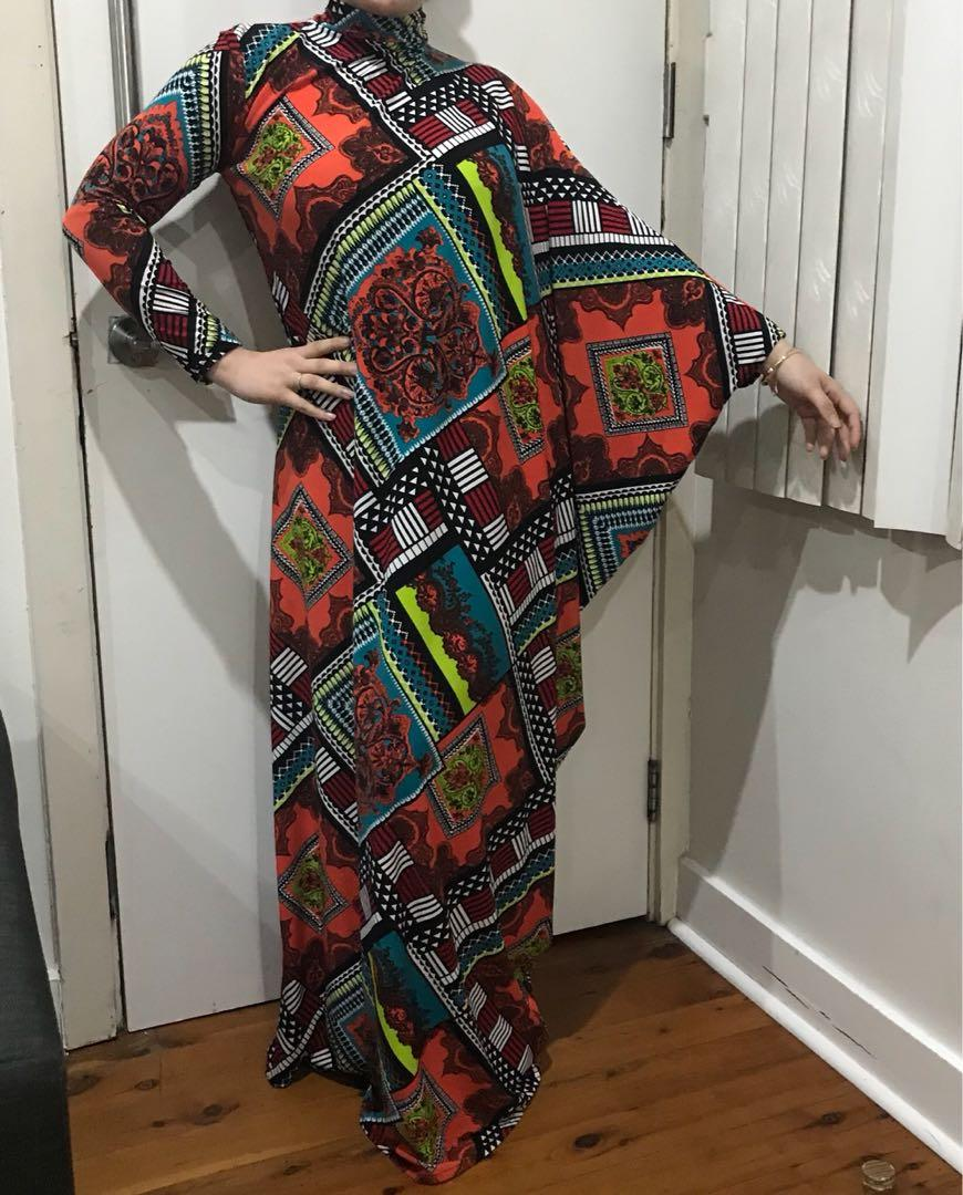 Stunning vintage women's one shoulder kaftan maxi dress gown size 8-14