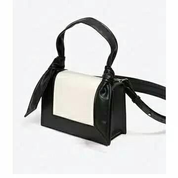 tas charles and keith leather flap handbag