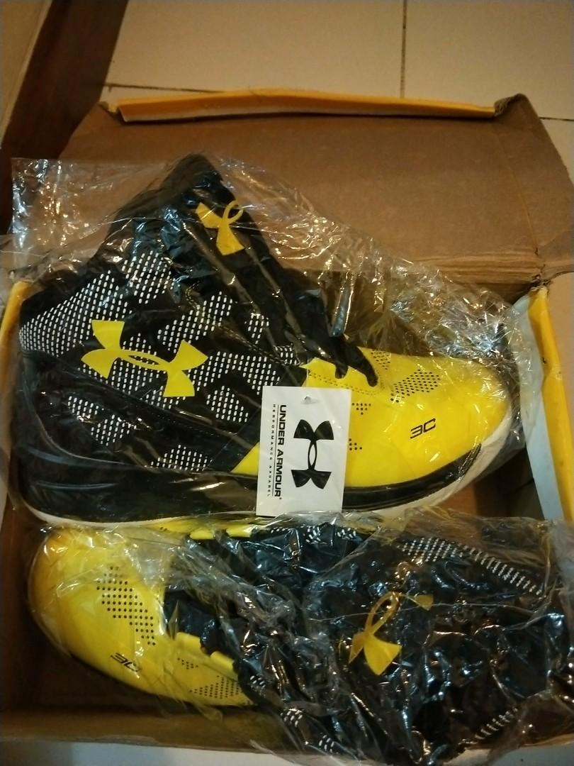 Under Armour Curry 2 Yellow Basketball shoes
