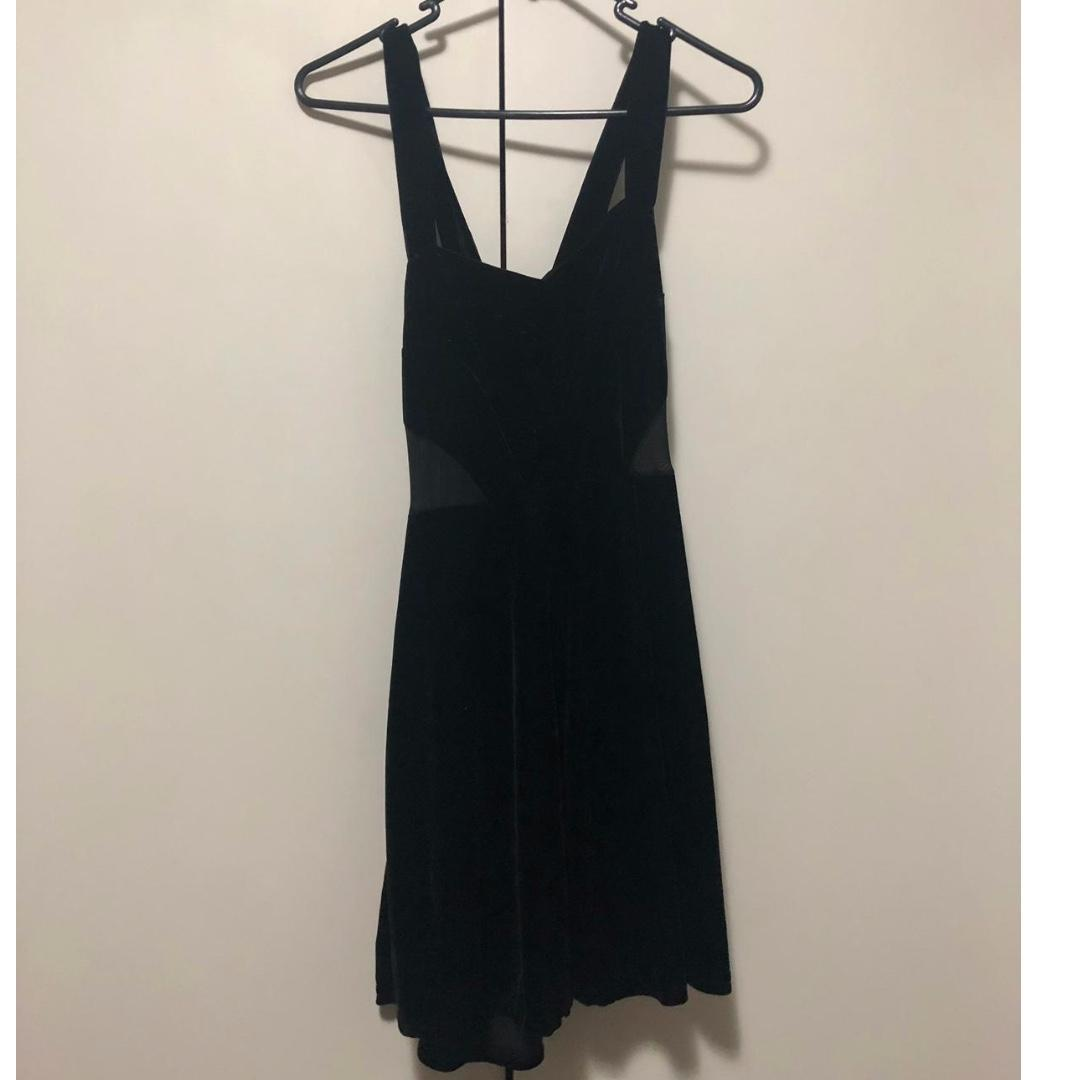 Velvet Sweetheart Neckline Dress w/ Mesh Cut-out Sides