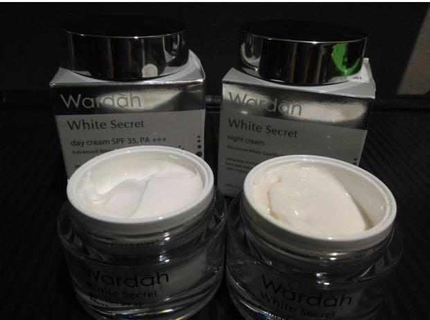 Wardah White Secret Day Cream and Night Cream. Preloved. Isi masih 90%. Expired Okt 2020.