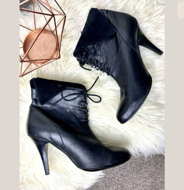 Wittner sz 40/US9 Petrina soft leather lace up ankle boots shoes heels winter