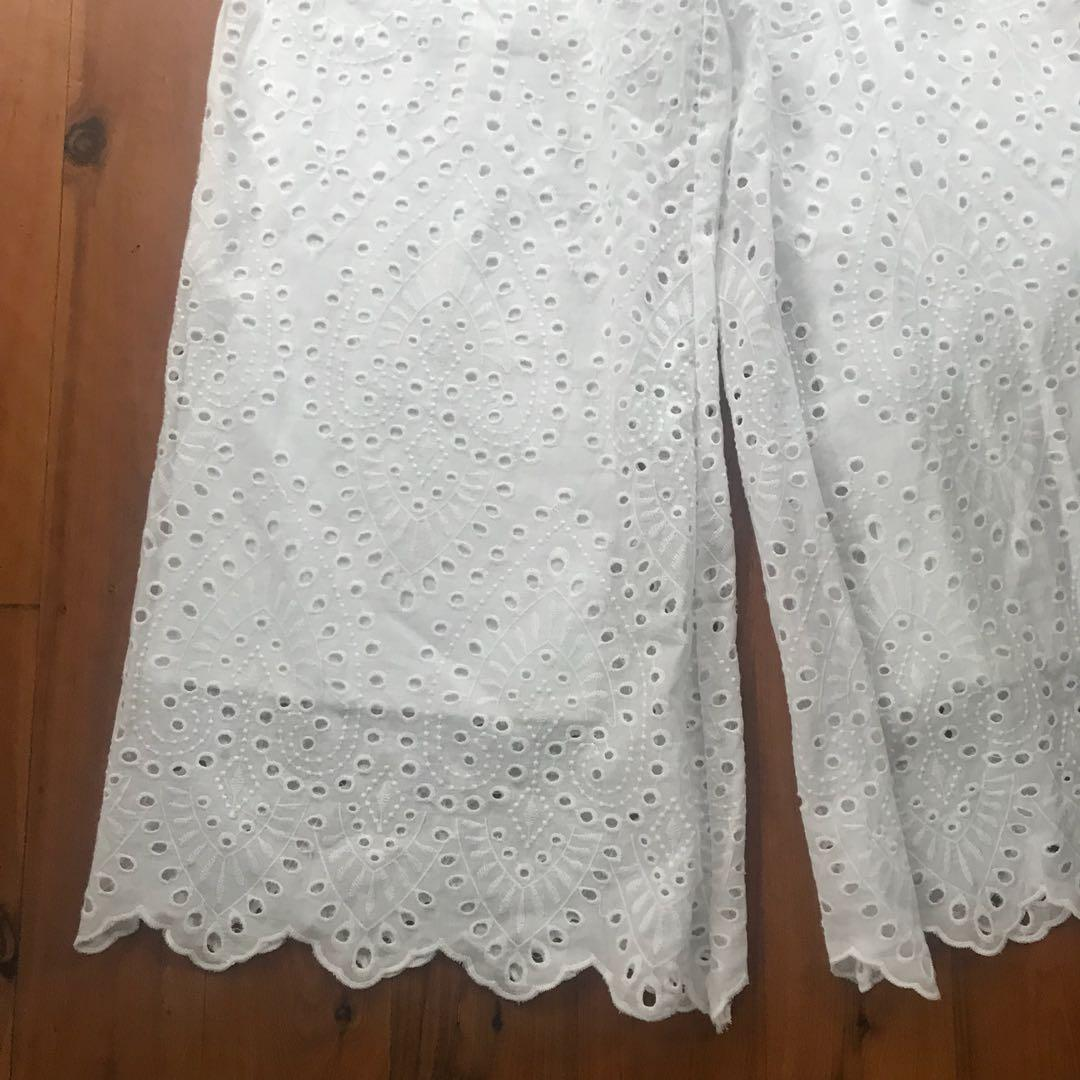 Women's Bardot embroidered flared cotton pants size 8