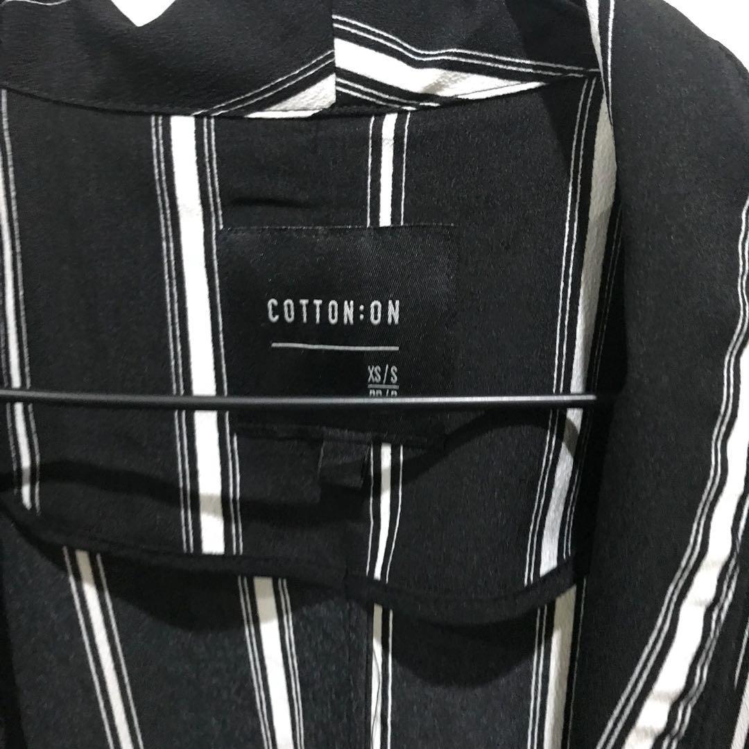 Women's cotton on kimono sleeve stripe jacket size s