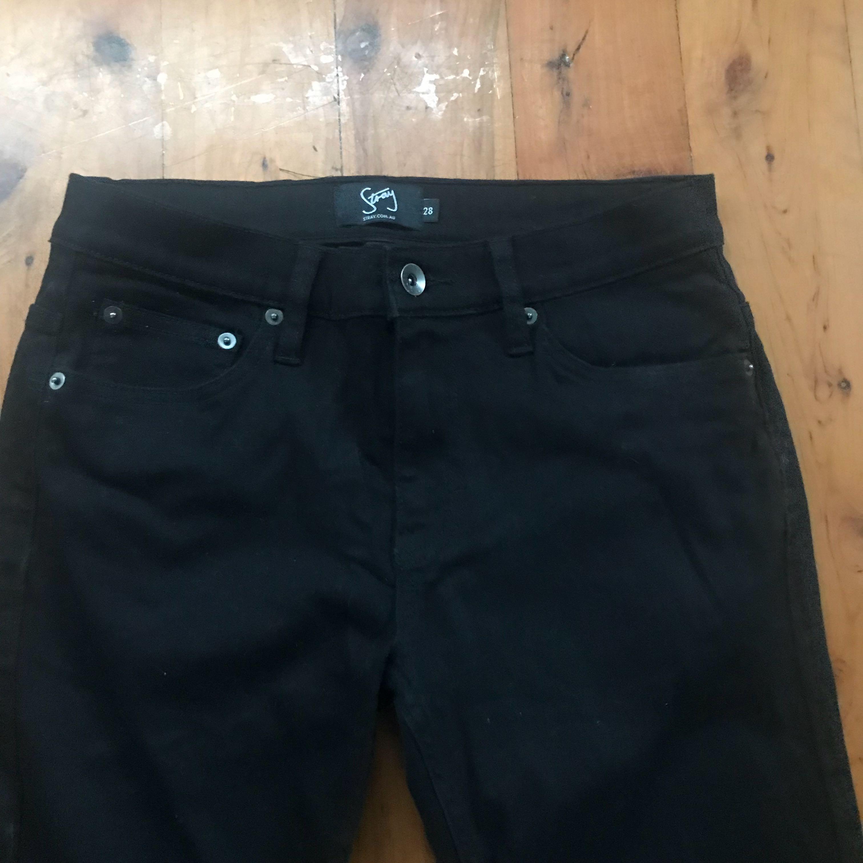 Women's new skinny leg stray denim jeans dark black size 28