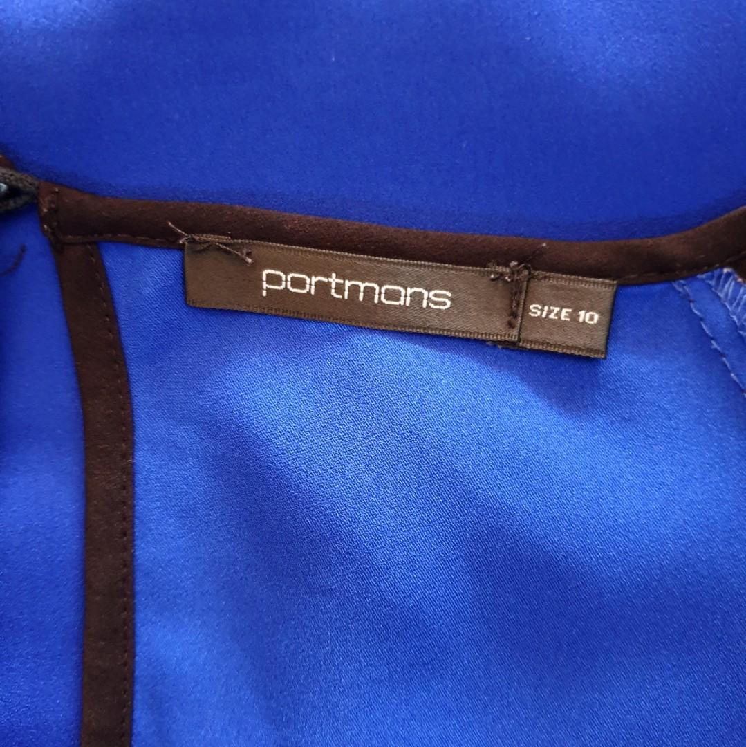 Women's size 10 'PORTMANS' Stunning royal blue and black trim short sleeve blouse top- AS NEW