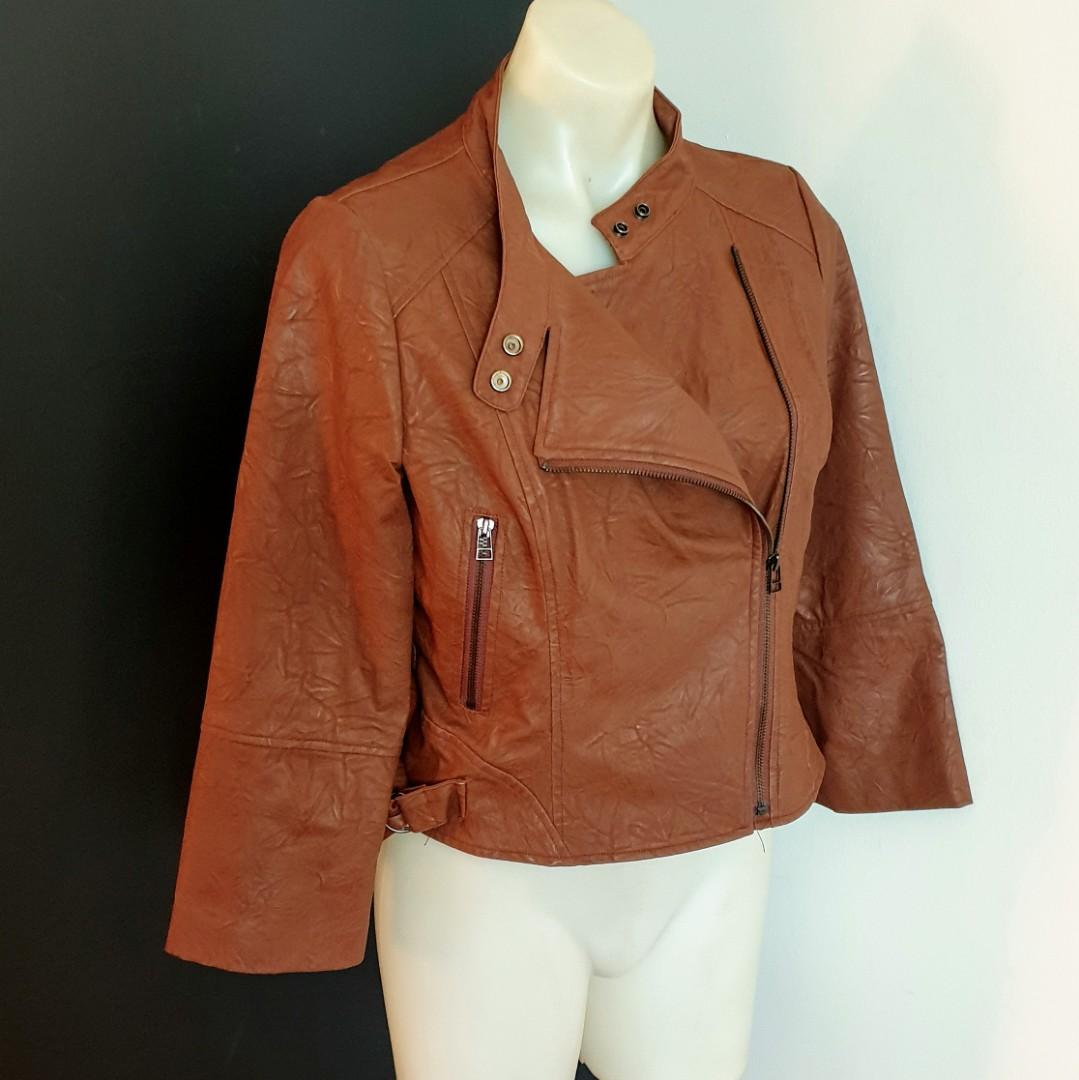 Women's size 14 (small make will fit 10-12) 'ALIVE GIRL' Gorgeous tan cropped biker style jacket- AS NEW