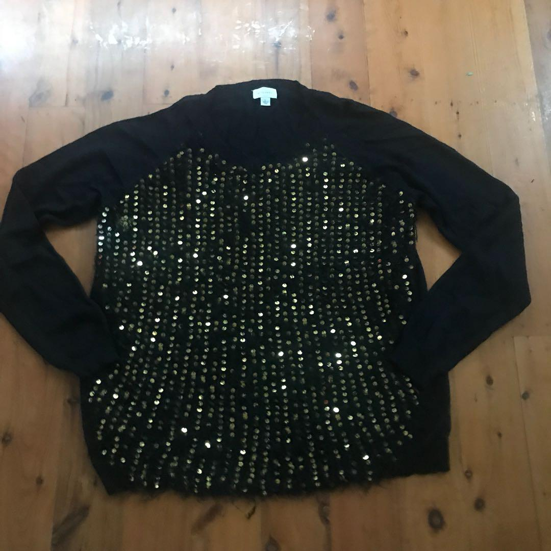 Women's witchery black jumper with gold sequence detail size L
