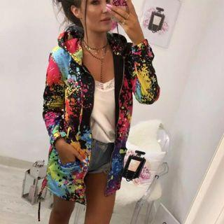 (PO) S-XXL Outerwear & Coats Jackets Fashion Tie dyeing Print Outwear Sweatshirt Hooded Overcoat coats and