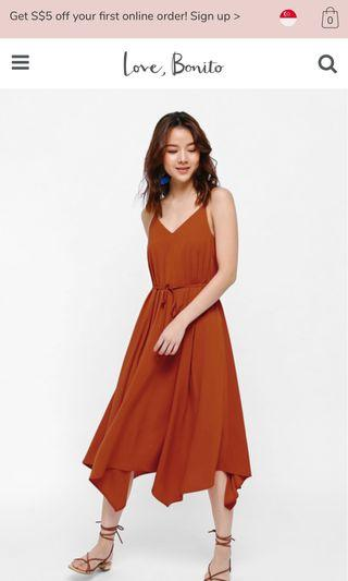 Love Bonito Gisele kerchief midi dress in rust