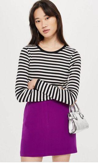 Topshop striped scallop crop top