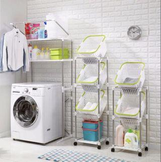 Ready Stock 2/3 Tier Movable Laundry Basket