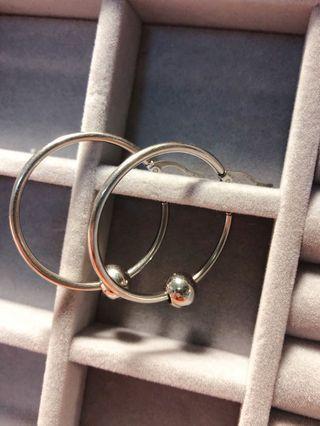 復古銀圈耳環