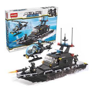 Lego-compatible Swat Patrol Boat with chopper set