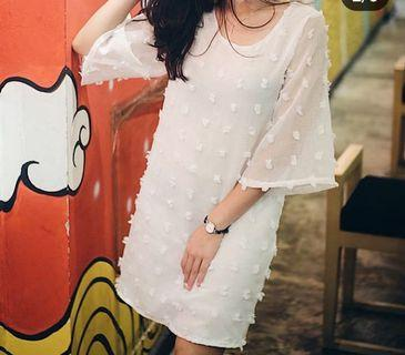 White Dots Pattern Dress