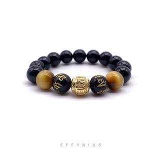 The Six True Words | Blessing & Wealth 保佑與財富 | Golden Tiger Eye 金虎眼 | Black Onyx 黑瑪瑙 | Engraved Gold 刻金 | Premium Natural Gemstone Bracelet
