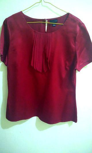 Blouse merah maroon / baju merah maroon