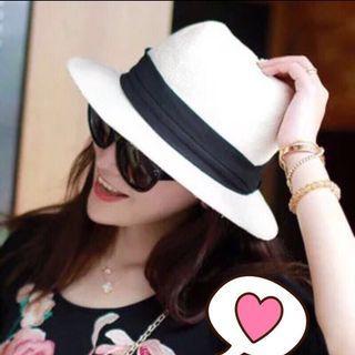 韓國 三角蝴蝶結時尚遮陽帽✨乳白色