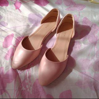 Blush Pink Pointy D'orsay Flat Shoes Sandal
