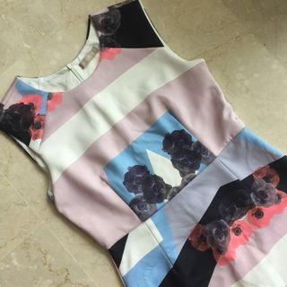 Floral abstract formal work dress