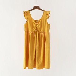 🚚 Yellow Flutter Sleeve Dress
