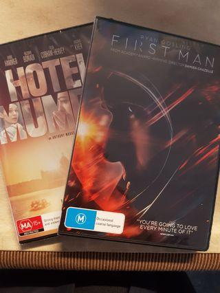 Dvds first man & hotel mumbai (Price is ea)